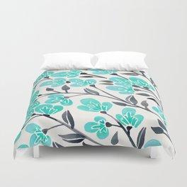 Cherry Blossoms – Turquoise & Black Palette Duvet Cover