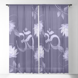 Om Symbol with Lotus Ornament on purple Sheer Curtain