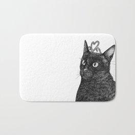 Nishi the Black Cat Wearing a Glittering Heart Tiara Bath Mat