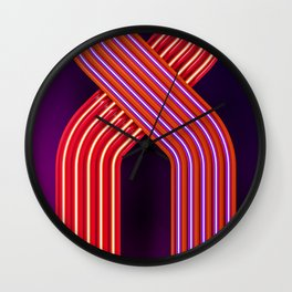 Neon crossing Wall Clock