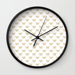 Metallic Gold Foil Butterflies on White Wall Clock