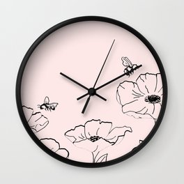 Poppies & Honeybees Wall Clock