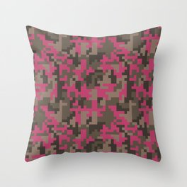Pink and Brown Pixel Camo pattern Throw Pillow