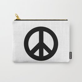 Black on White CND Peace Symbol Carry-All Pouch
