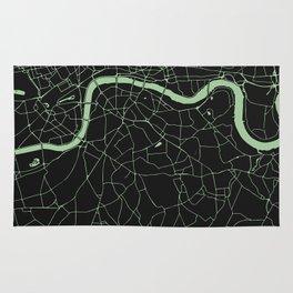 London Black on Green Street Map Rug