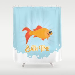 Bath Time with Golden Fish Shower Curtain