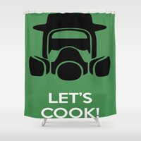 cooking Shower Curtains featuring Cooking with Heisenberg by Florian Rodarte