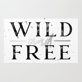 Wild and Free Silver on White Rug