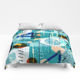 Abstract colorful geometric shapes collage Comforters