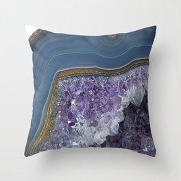 Amethyst Geode Agate Throw Pillow