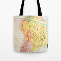 maps Tote Bags featuring Maps by Caroline Mint
