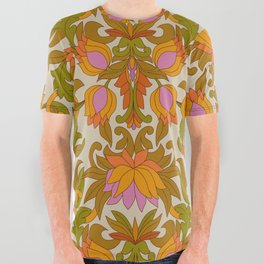 Orange, Pink Flowers and Green Leaves 1960s Retro Vintage Pattern All Over Graphic Tee
