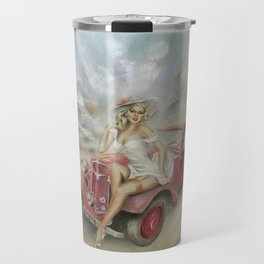 Girl and Classic Car - Vintage Travel Mug