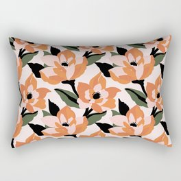 Bold orange poppy on a soft pink base Rectangular Pillow