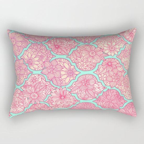 Moroccan Floral Lattice Arrangement in Pinks Rectangular Pillow