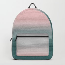 Touching Teal Blush Gray Watercolor Abstract #1 #painting #decor #art #society6 Backpack
