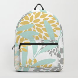 Floral Prints, Leaves and Blooms, Yellow, Gray and Aqua Backpack