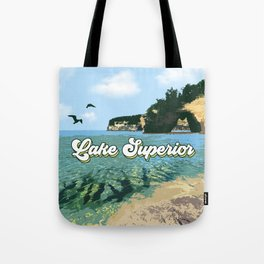 Lake Superior Retro Tote Bag