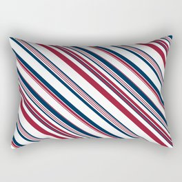 Red and Blue Stripes Rectangular Pillow