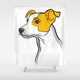 Tan & White Jack Russell Dog Portrait Shower Curtain