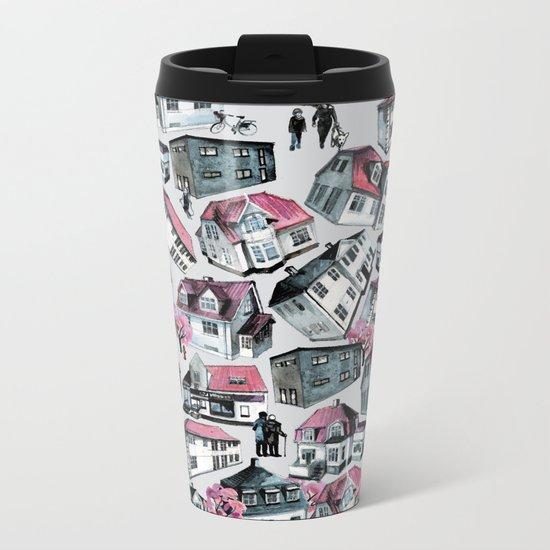 Danish small town pattern Metal Travel Mug