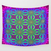 psychedelic Wall Tapestries featuring PSYCHEDELIC flowers by 2sweet4words Designs