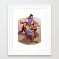 tintin Framed Art Prints featuring Tintin and co. by magemg