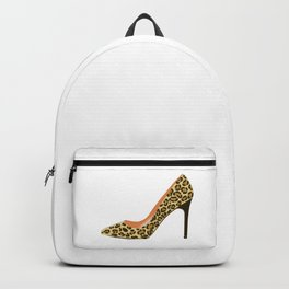 Leopard Print High Heel Shoe Backpack