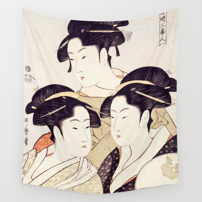 Three Beauties of the Present Day - Japanese Woodblock Print Wall Tapestry