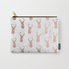 Modern faux rose gold deer pattern white marble Carry-All Pouch