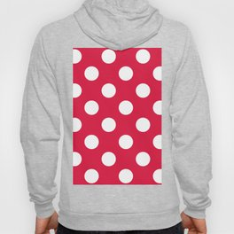Large Polka Dots - White on Crimson Red Hoody