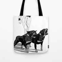 rottweiler Tote Bags featuring Fashion Rottweiler  by Gregory Casares