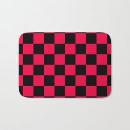 Black and Red Checkerboard Pattern Bath Mat