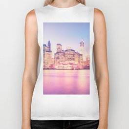 New York City Skyline - Lights Biker Tank