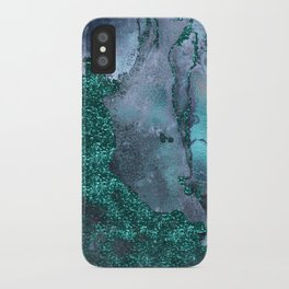 Malachite Glitter Stone and Ink Abstract Gem Glamour Marble iPhone Case