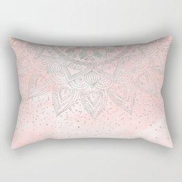 Luxury silver gray mandala confetti design Rectangular Pillow