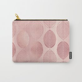 Rose Gold Leaf Pattern Carry-All Pouch