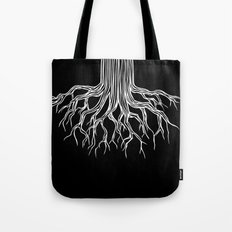 Tree Root Drawing (white on black) Tote Bag