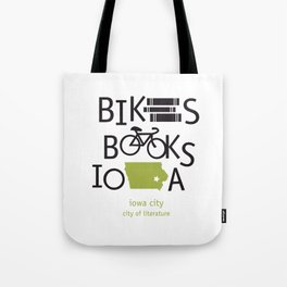Bikes Books Iowa Tote Bag