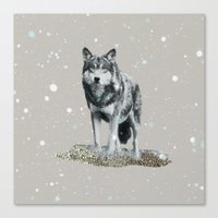 dota Canvas Prints featuring SNOW WOLF by Monika Strigel