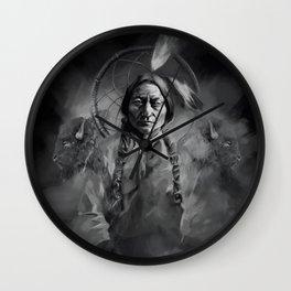 Black and white portrait-Sitting bull Wall Clock