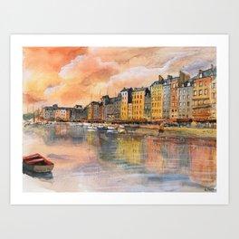 Sunset over Honfleur Art Print