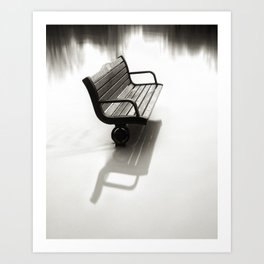 Bench almost flooded Art Print