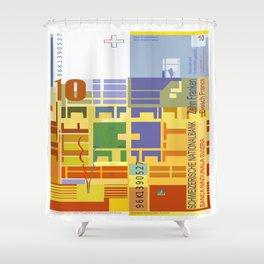 10 Swiss Francs note bill Shower Curtain