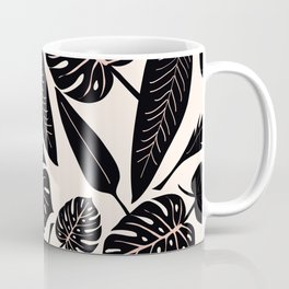 Monstera pattern in black and pastel Coffee Mug