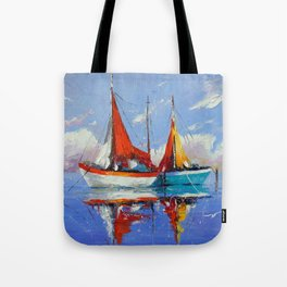 Sailboats in the sea Tote Bag