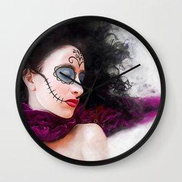 Purple Dream Of The Dead - Dia De Los Muertos Sugar Skull Wall Clock