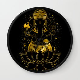 Golden Ganesha Wall Clock