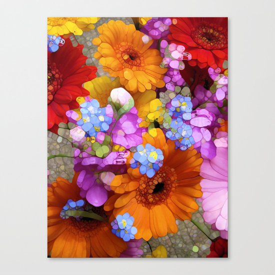 Rainbow Flower Abstract Canvas Print
