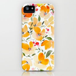 Yellow and Orange Floral iPhone Case